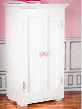 """WHITE WOODEN WARDROBE CLOTHES CLOSET TRUNK Furniture For 18""""American Girl Doll"""