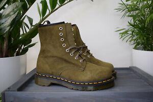Dr MARTENS 1460 GRENADE Green Buck Soft Leather Vintage Boots UK 4 EU 37 US 6