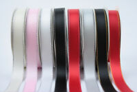 Double Sided Satin Ribbon with Gold Silver Lurex Edges 9mm 16mm Wide 10m Reel