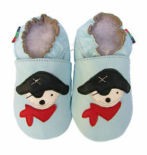 shoeszoo pirate light blue 12-18m S soft sole leather baby shoes