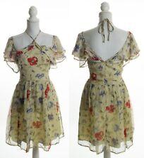 ASOS Beige Multi Color Floral Cross Halter Strap Chiffon Spring Dress Size 6