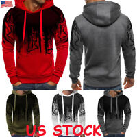Men's Warm Hoodie Fleece Tops Hooded Jacket Casual Sweatshirt Gym Pullover Coat
