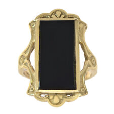 14K Yellow Gold Black Onyx Women's Ring