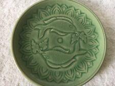 "Baan Celadon Fish Motif Green 7.5"" Plate Thailand Ching Mai Pottery EUC"
