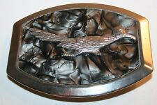 Vintage Roadrunner Metal Marbled Styled Belt Buckle Unique Art Bird Rare