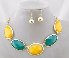 Gold With Yellow Turquoise Ovals Necklace Earrings Set Bib Fashion Jewelry NEW