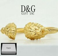 DG Mens Stainless Steel.Gold Double,Lion Head.Adjustable Cuff Cable Bracelet*Box