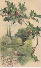"""""""All Good Wishes for Xmas and The New Year"""" 1908 Post Card"""