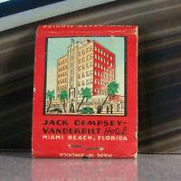 Vintage Matchbook U3 Miami Beach Florida Jack Dempsey Boxing Classic Cars Hotel