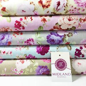 Vintage Floral Rose Shabby Chic Imprimé 100% Coton Popeline Tissu 112cm Large