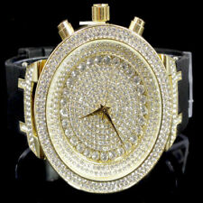 High Quality Simulated Diamond Bling Master Yellow Gold Men Silicon Bling Watch