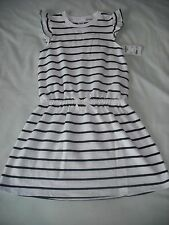 BNWT Osh kosh b'gosh girls white navy pretty spring summer dress 6 X years