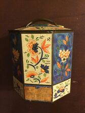 Sharps Assorted Toffee Tin Vintage Octagon Flora Blue White Antique 1960 Handle