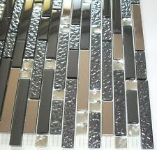 Glasmosaik Diamond grau-blau metallic mit Schmuck- und Metallsteinen JJ-EB 0807