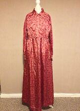 Vintage años 70 largo vestido rosa con patrón de la Hoja-tamaño 14