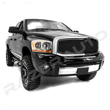 Gloss Black Front Mesh Grille+Replacement Chrome Shell for 06-08 Dodge RAM Truck