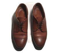 Allen Edmonds Shoes Benton 3458 Sz 8D Brown Leather Cap-Toe Oxfords Vibram