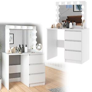 Schminktisch Kosmetiktisch Spiegel LED-Beleuchtung Frisiertisch Schubladen Weiß