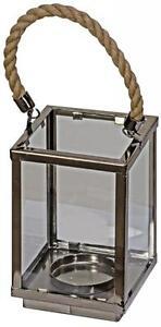 Chrome & Glass T-Light Candle Holder,rectangular rope hanging lantern 18cm tall