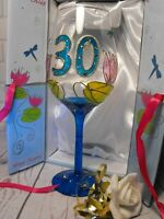 LADIES GIRLS 30TH BIRTHDAY GIFT PRESENT hand painted WINE GLASS 30TH BLUE GLASS