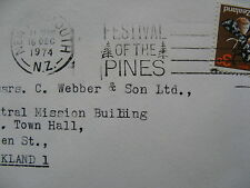 NEW ZEALAND, cover 1974, slogan canc Festival of the Pines, tree