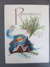Vintage CHRISTMAS Card Art Deco Snowy Cottages Lucky White Heather Remembrance