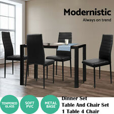 5 Piece Dining Table Set - Black