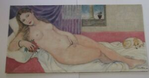 LARGE 1960'S PAINTING LONG NUDE FEMALE FORM WOMAN MODEL RECLINED WITH PUPPY DOG