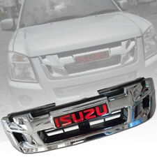 CHROME RED LOGO FRONT GRILL GRILLE FIT FOR ISUZU D-MAX DMAX 2007 08 09 10 2011