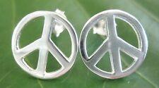 REAL 925 sterling silver MEDIUM 12 mm Round Peace Sign Stud Earrings Women Teen
