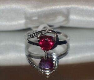 1.56ct.  RED RUBY GENUINE DIAMOND STERLING SILVER  RING
