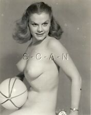 Original Vintage 1940s-60s Nude RP- Watch- Endowed Woman Holds Toy Ball