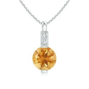 """Platinum Over 925 Sterling Silver Citrine Necklace Pendant Gift Size 20/"""" Ct 6.3"""