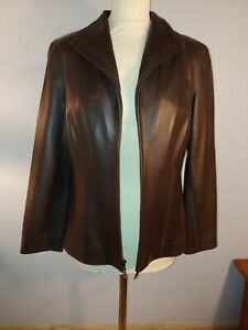 Cole Haan Chocolate Brown LAMB Skin Leather Jacket Size 10