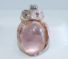 GENUINE! 26.50tcw! Rose Quartz & Ruby Owl Pendant Solid Sterling Silver 925!