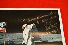 NEIL ARMSTRONG SIGNED GLOSSY 8X10 FLAG ON THE MOON PHOTO!!! STRONG SIGNATURE!!!
