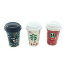 3Pcs Dollhouse Miniature Coffee Cups Lid Mermaid 1:6 Model Food Accessories