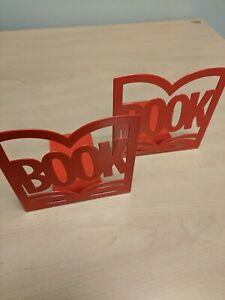 Metal Red Book Bookends Shelf Organizer Set of 2