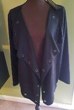 NWT Women's XL Sara Stuido Open Front Black Jacket, Thin, Key Hole designs, NICE