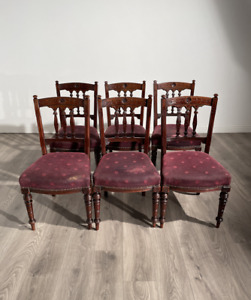 Beautiful Set Of 6 Highly Decorated Edwardian Dining Chairs In Walnut
