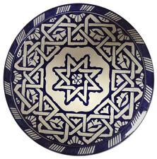 "Moroccan Arabesque Design Cobalt Blue & White Serving Plate Wall Decor 10""ø"