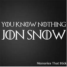 YOU KNOW NOTHING JON SNOW Funny Car Bumper GAME OF THRONES Vinyl Decal Sticker