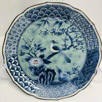 Vintage Japanese Fluted Plate Rim Exotic Bird Flowering Prunus Tree Blue Signed