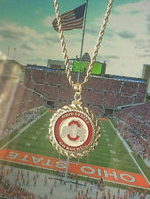 NCAA OHIO STATE BUCKEYES NECKLACE w MATCHING STERLING SILVER ROPE BEZEL & CHAIN