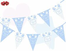 Naming Day Blue & White Polka Dots, Hands & Heart Print Bunting Banner 15 flags