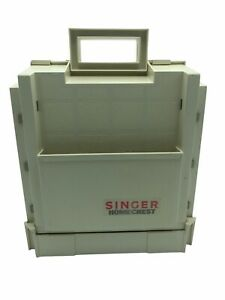 Singer Home Chest Sewing Notions Fold Out Box Beige W/Tote Handles vintage 1980s