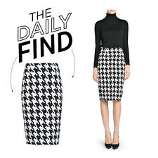 h&m houndstooth print midi pencil XS xsmall black white knee office Bloggers