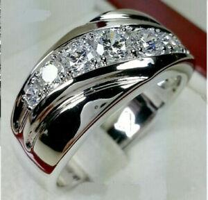 1.50 Ct Round Cut Diamond Men's Engagement Ring Wedding Band 14K White Gold Over