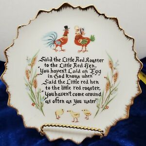 Decorative Plate: Said the Little Red Rooster to the Little Red Hen ... Egg Time