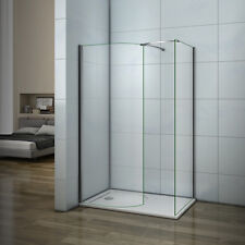 Walk In Wet Room Shower Enclosure and Tray 6mm Curved Glass Cubicle Screen